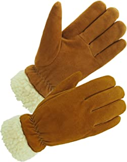 SKYDEER Men's and Women's Pro Thick Deerskin Suede Leather Winter Gloves with Warm Pile Lining Gifts for Cold Weather Work and Sports (SD8675T/XL)