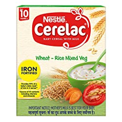 Nestle CERELAC Fortified Baby Cereal with Milk, Wheat-Rice Mixed Veg – From 10 Months, 300g BIB Pack