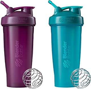 Blender Bottle Classic Loop Top Shaker Bottle, 28-Ounce 2-Pack, Plum/Plum and Teal/Teal