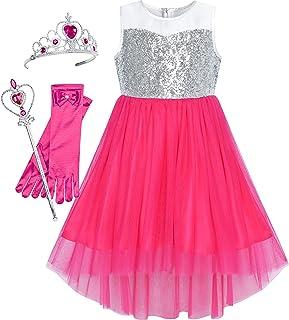 Sunny Fashion Vestidos Meninas Lantejoula Malha Festa Casamento Princesa Tule 7-14 anos