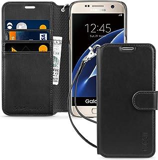 TUCCH Funda Galaxy S7, Funda Tapa para S7 con Protector de Pantalla, Garantía de por Vida,Ranura para Tarjeta, Soporte Plegable, Cierre Magnético, Funda de Cuero para Galaxy S7 – Negro