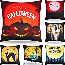 Boao 6 Pieces Halloween Decorative Throw Pillow Covers Happy Halloween Pillow Cover Throw Cushion Cover Pumpkin Witch Scary Pillowcase for Halloween Party Supplies, 18 x 18 Inch/ 45 x 45 cm