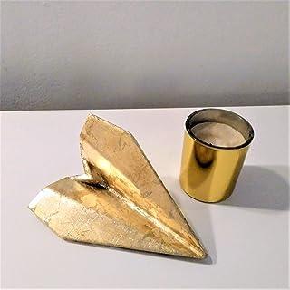 Avión de estilo origami con acabado metal dorado en resina cerámica gris, Barcelona, navidad, regalo, decoración navideña,...