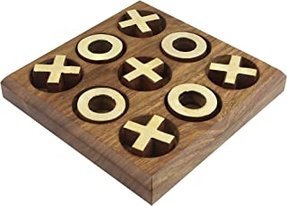 SKAVIJ Wooden Handmade Travel Tic Tac Toe Board Game Brass Inlay Coins (Brown)