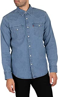Levi's de los Hombres Camisa estándar Occidental de Barstow, Azul, M