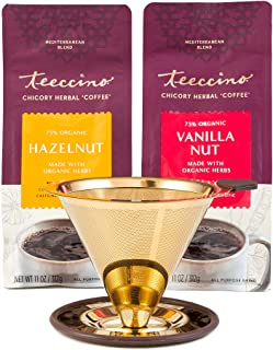 Teeccino Pour-Over Coffee Maker With 2 X 11 Ounce Bags Chicory Coffee Alternative - Hazelnut And Vanilla Nut Prebiotic | C...