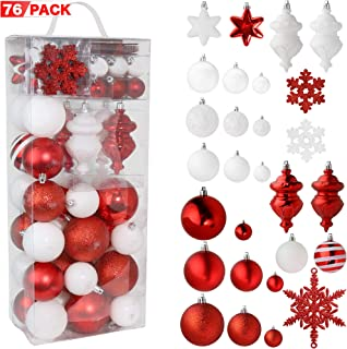 RN'D Christmas Snowflake Ball Ornaments - Christmas Hanging Snowflake and Ball Ornament Assortment Set with Hooks - 76 Ornaments and Hooks (Red & White)