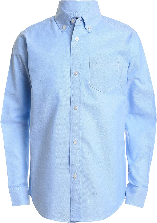 IZOD Boys' Long Sleeve Solid Button-Down Oxford Shirt