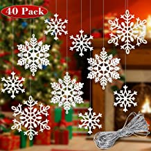 Whaline 40 Pcs White Glitter Snowflake Hanging Ornaments with 197 Inches Silver Rope, Christmas Tree Decorations Xmas Window Door Accessories
