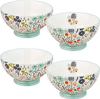 Grace Teaware Latte/All-Purpose 16-Ounce Ceramic Stoneware Bowl, Set of 4 (Scenic Valley)