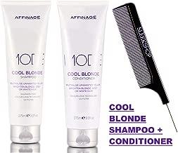 Affinage MODE Cool Blonde SHAMPOO & CONDITIONER Duo Set (w/Sleek Comb) Neutralize Unwanted Yellow, Brighten Blonde, Grey or White Hair ASP (9.3 oz / 275 ml - ORIGINAL KIT)