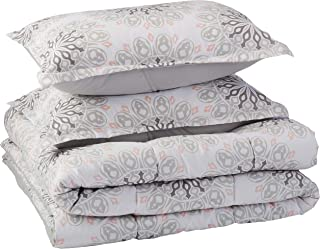 AmazonBasics Comforter Set, Full / Queen, Grey Boho Medallion, Microfiber, Ultra-Soft