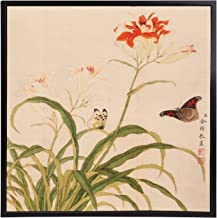 INKWASH Ready to Hang Chinese Colored Ink Hemerocallis Fulva Butterflies Painting Flower Wall Art Decor for Living Room Office Wall Frame 13