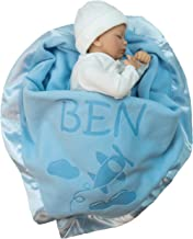 Best Custom Catch Personalized Airplane Baby Blanket - Boy Name Gift - Blue or Pink (1 Text LIne) Review