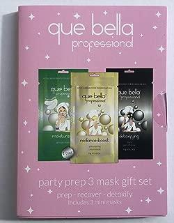 Que Bella Party Prep 3 Mask Gift Set including Moisturizing eye masks, detoxifying peel off mask and radiance boost shimmering cream mask