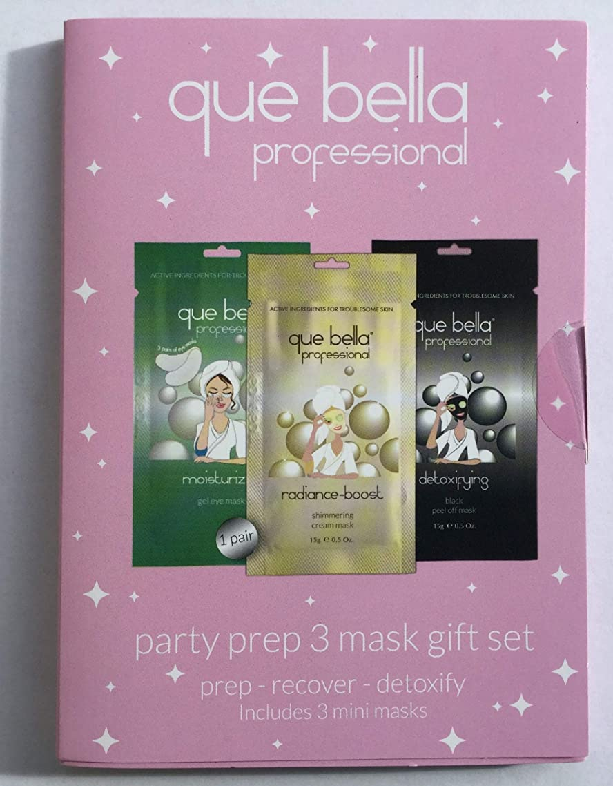 Que Bella Party Prep 3 Mask Gift Set including Moisturizing eye masks, detoxifying peel off mask and radiance boost shimmering cream mask