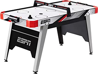 ESPN 5 Ft. Air Hockey Table with Overhead Electronic Scorer and Pucks & Pushers Set Family Indoor Game, White Black Red