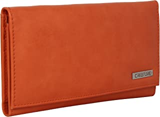 Creature Casual Tri-fold Clutch For Women/Girls with multiple card slots/money pockets(Color-Orange||CL-06)