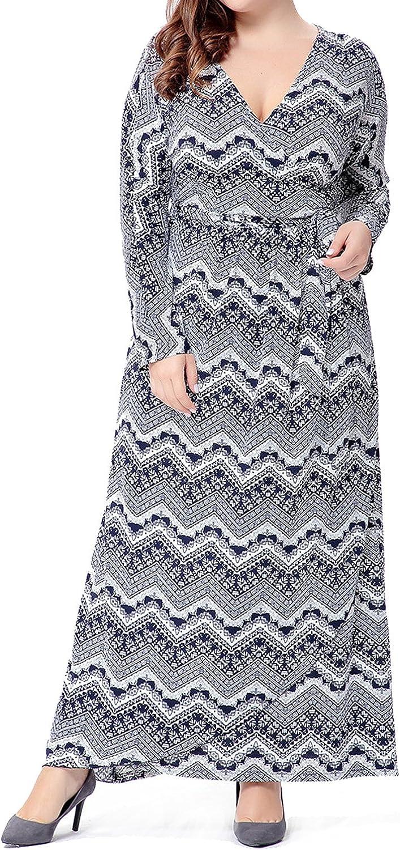 1791's lady Plus Size VNeck Long Sleeve Cardigan Wrap Maxi Dress
