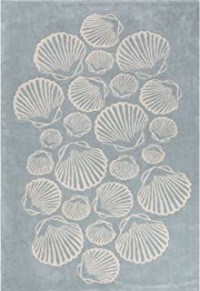 Contemporary Coastal Pattern Blue/Ivory Polyester Area Rug (7.6x9.6) , Rug , Home Garden Living