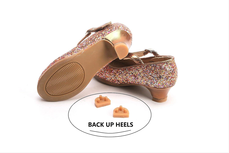 THEE BRON Toddler Flower Girl Gold Giltter High Heels Princess Dress Shoes