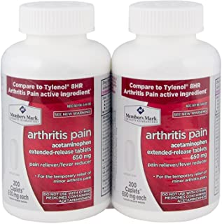 Member's Mark 650mg Acetaminophen Extended Release Pain Reliever Fever Reducer Arthritis Pain Caplets (2 bottles (400 capl...