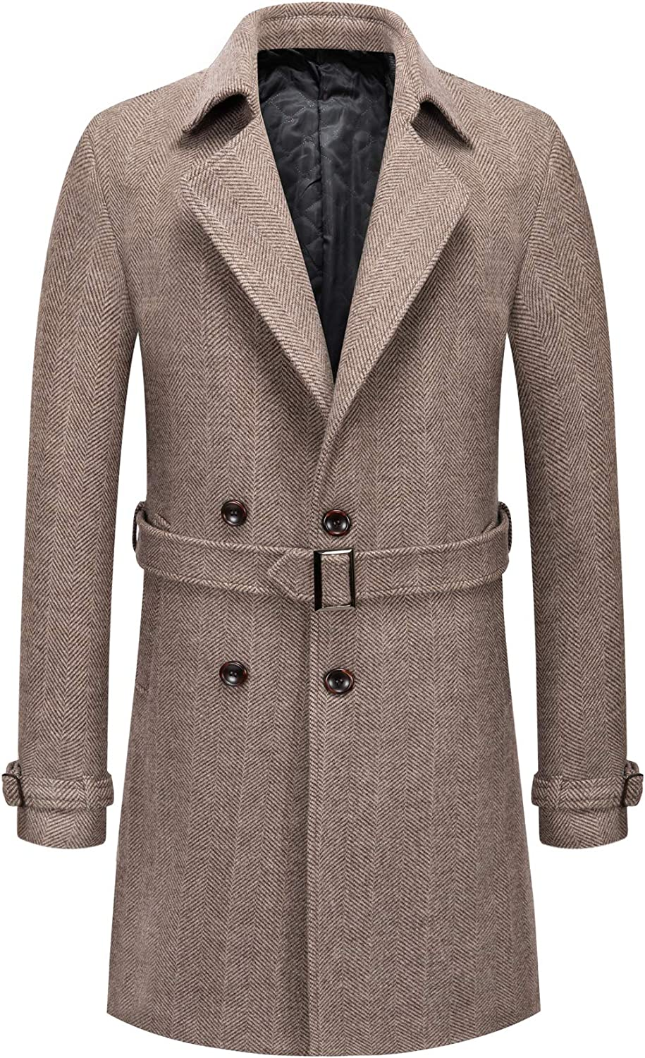 chouyatou Men's Gentle Notched Collar Double Breasted Slim Splited Wool Blend Trench Coat with Belt