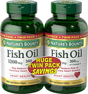Nature`s Bounty Fish Oil 1200 mg Twin Packs, 180-Count per bottle (360 Total Count) Rapid Release Liquid Softgels