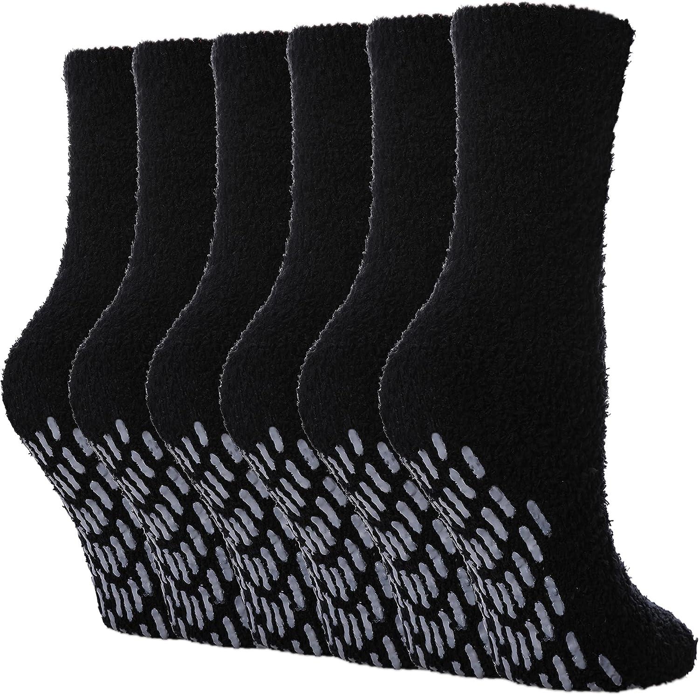 FNOVCO Non Slip Socks for Women Fuzzy Warm Cozy Slipper Socks Winter Fluffy Soft with Grips Anti Slip Socks 6 Pairs