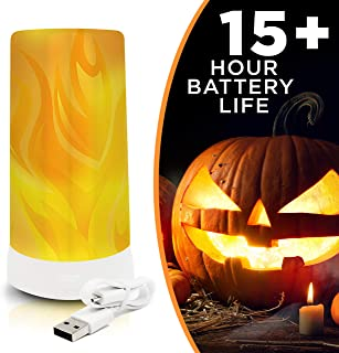 LED Flame Effect Light Bulb: USB Rechargeable Battery Operated Flame Bulb Lamp - Upside Down Effect - 200 Lumen – Flickering Fire Lights for Indoor/Outdoor Use - 1 Pack