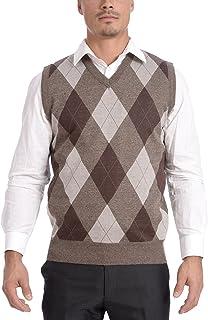 TR Fashion Men's Soft Stretch Solid and Argyle V-Neck Casual Pullover Vest