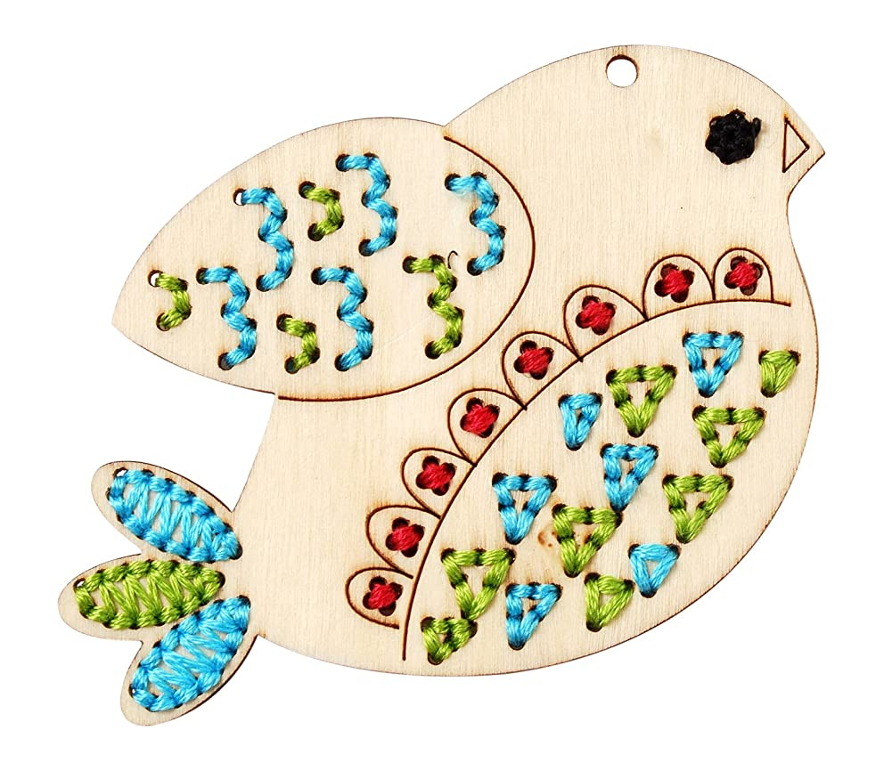 Bucilla Wood Stitchable Shapes, Handmade Charlotte, 3 by 3-Inch, 46122 Bird, 3