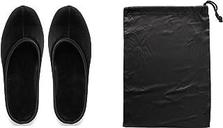【収納袋付】卒業式入学式授業参観用携帯ヒール4cmスリッパ (L(23.5cm〜24.5cm), ブラック)