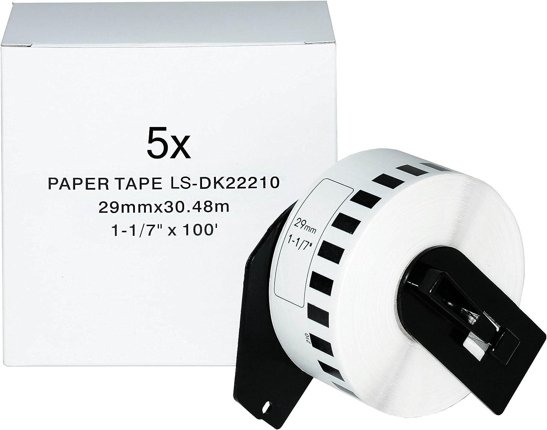 Logic-Seek 5X Endlos-Etikett kompatibel für Brother DK22210 29mm x 30,48m P-Touch QL-1050 1060N 500 550 560 570 580 700 500 A BS BW 560 VP YX 580N 650TD 710W 720NW B00PUKP3FC   Online-verkauf