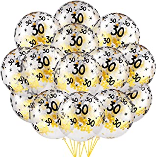 35 Pieces Birthday Confetti Balloons Transparent Balloons with Sequins Gold Confetti Latex Balloons for Birthday Theme Party Decoration (for 30th Birthday)