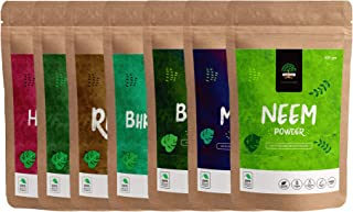 GreenTree Herbal Reetha Powder, Amla Powder, Bhringraj Powder, Hibiscus Powder, Methi Powder, Neem Powder and Brahmi Powde...