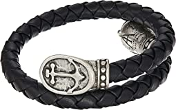Anchor Braided Leather Wrap Bracelet