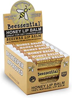 Beessential Natural Bulk Lip Balm 18 Pack For Men, Women, and Children. Great for Gifts, Showers, More (Honey)