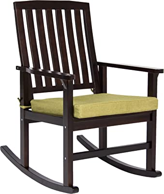 Best Choice Products Indoor Outdoor Home Wooden Patio Rocking Chair Porch Rocker Set Glider w/Seat Cushion- Brown/Green