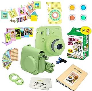 Fujifilm Instax Mini 9 Instant Camera - LIME GREEN + Fuji INSTAX Film (20 Exposures) + Multifarious Instax Accessory Kit BUNDLE Includes; Case/Strap & Album + Fun Frames/Stickers/Lenses + MORE