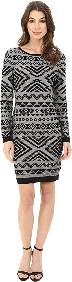 Long Sleeve Knit Dress with Aztec Print