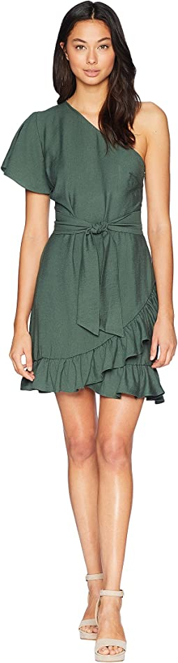 One Shoulder Ruffled Edge Wrap Dress