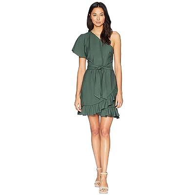1.STATE One Shoulder Ruffled Edge Wrap Dress (Taro Leaf) Women