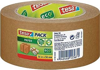 tesa Ruban Adhésif Papier Kraft EcoLogo - Adhésif d'Emballage en Papier Écologique ,60 % de Matériaux Naturels - Marron - ...