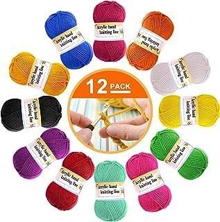 Paquet de 12 Laine Acrylique - Laine à Tricoter Multicolore en fil de Crochet, Paquets de Fils de Tissage de Laine au Croc...