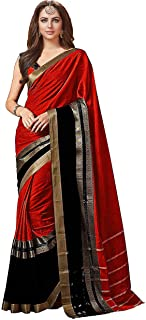 GoSriKi Saree with Blouse Piece (BM-G2FZ-NKC0_Red_Free Size)