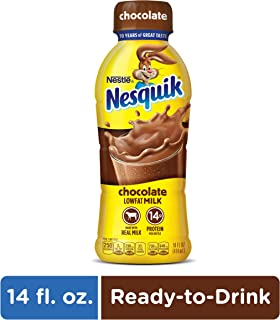 NESQUIK Chocolate Lowfat Milk | Protein Drink | 14 Fl. Oz. Bottle of Ready to Drink Chocolate Milk