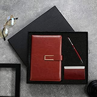 Gift for Men and Women, Pen, Notebook and Business Card Holder Journal Set PU Leather Writing Journal Executive Diary Plan...