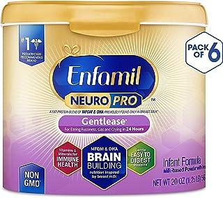 Enfamil 美贊臣 NeuroPro溫和型嬰兒配方奶粉 - 24小時內減少煩躁、脹氣和哭鬧 - 奶粉桶可重復使用, 每桶20盎司(約567g),6件裝