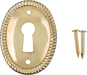 Vertical Oval Stamped Brass Decorative Keyhole Cover | 1